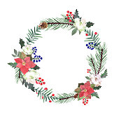 Watercolor wreath with fir branches, red berry, poinsettia, Christmas elements. Circle frame winter design for Happy New Year and Christmas print, wallpaper, textile. Vector