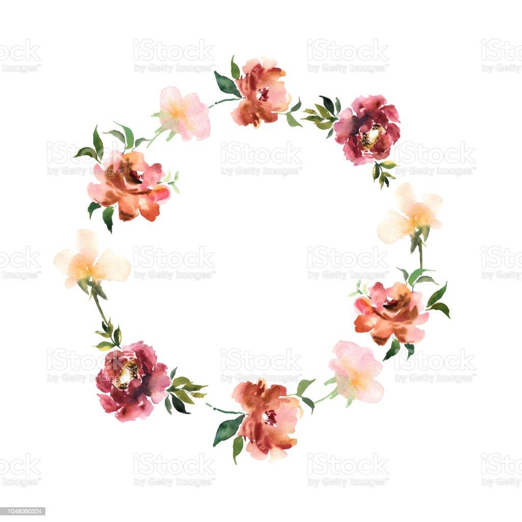 花と葉は円と水彩の花輪デザインの招待状やカードのカラフルな花飾り
