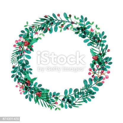 istock Watercolor Wreath With Leaves and Berries 874331420