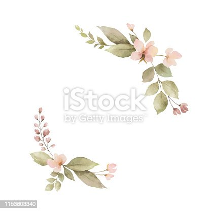 Watercolor wreath with leaves and flowers isolated on white background. Arrangement for greeting cards, wedding invitations, invite and decorations.