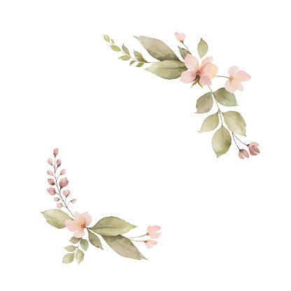 Watercolor wreath with leaves and flowers isolated on white background.