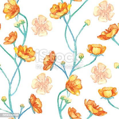 Watercolor yellow buttercups seamless pattern texture background vector.