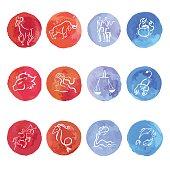 Watercolor. Horoscope Zodiac Star signs, vector set.