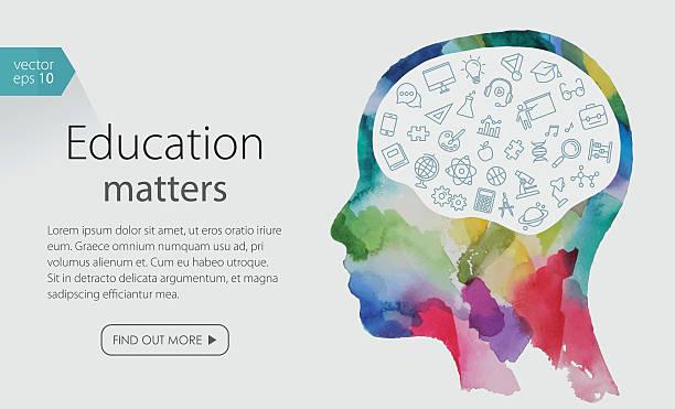 Watercolor_Banner_Depicting_Education_Including_Icons_Set - ilustración de arte vectorial