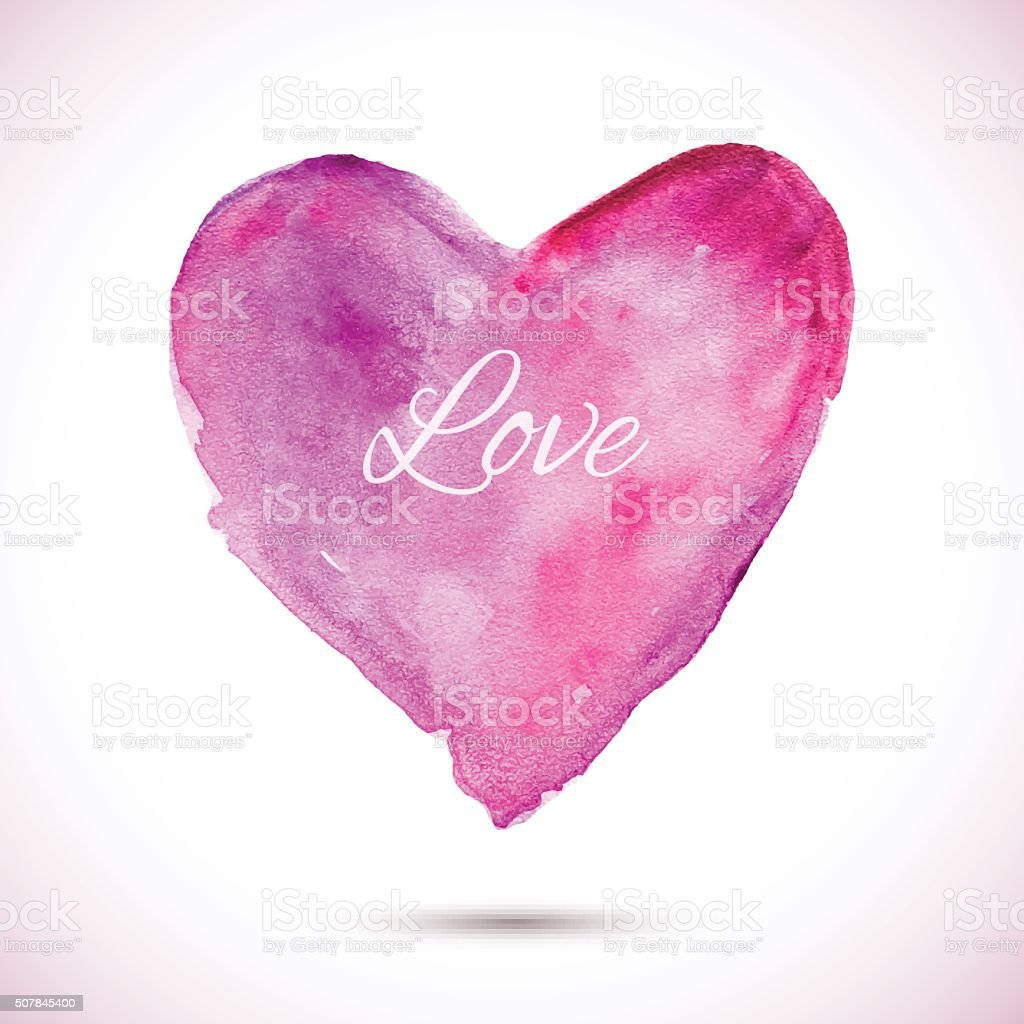 Watercolor-pink-love vector art illustration
