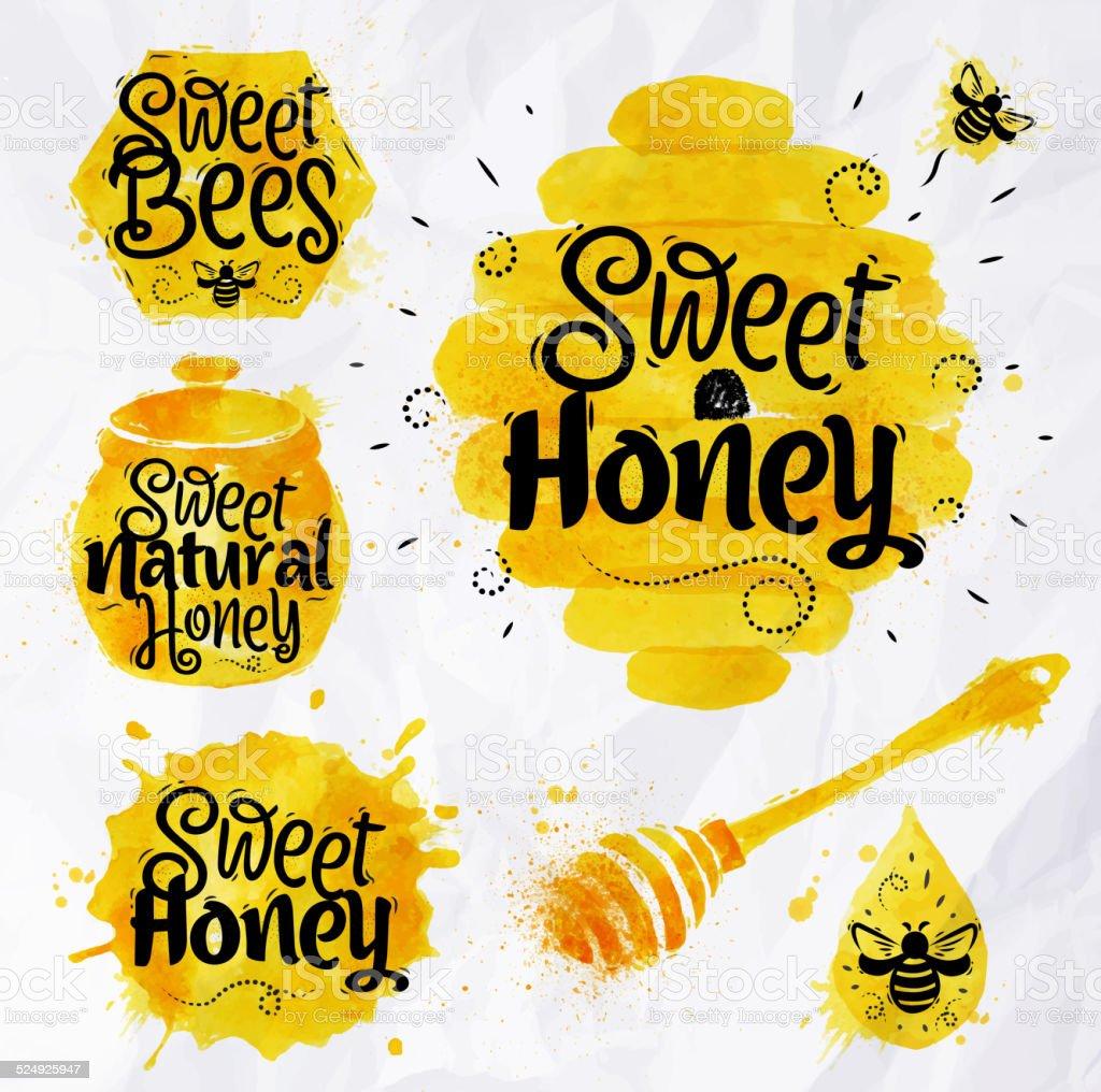 Watercolors symbols honey vector art illustration