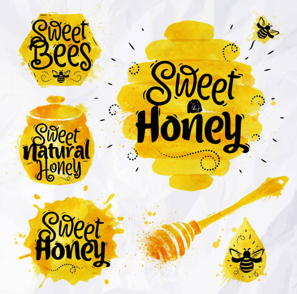 watercolors symbols honey - honey drip stock illustrations, clip art, cartoons, & icons