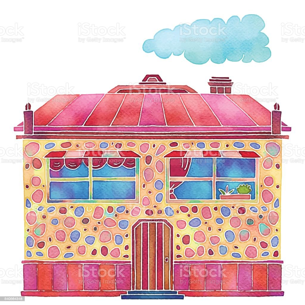 Watercolour Colorful Cartoon Building House Exterior Stock Vector ...
