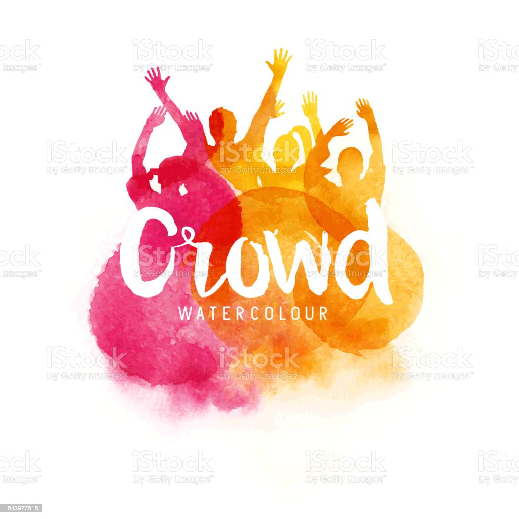 Watercolour Crowd Of People vector art illustration