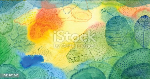 istock Watercolour doodle background 1091901740