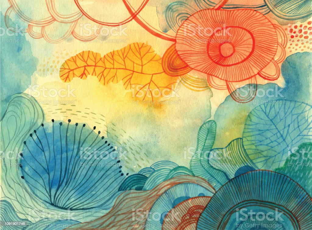 Watercolour doodle background Abstract nature painting Abstract stock vector