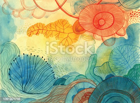 istock Watercolour doodle background 1091901746