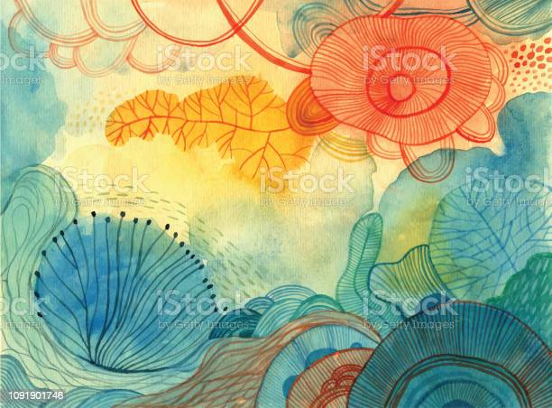 Watercolour Doodle Background Stock Illustration - Download Image Now