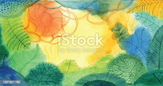 Watercolour doodle background