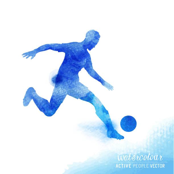 watercolour football player vector - fußballkunst stock-grafiken, -clipart, -cartoons und -symbole
