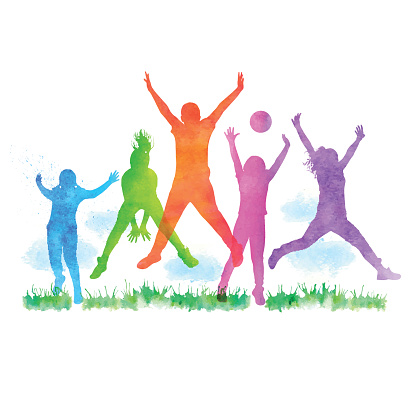 Watercolour Happy Children Jumping