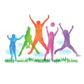 Vector illustration of watercolour silhouettes happy children jumping.