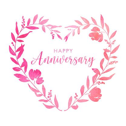 Watercolour Heart Floral Wreath Anniversary Card