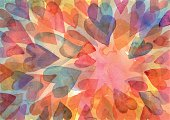 Vector watercolour hearts pattern background with some copy space