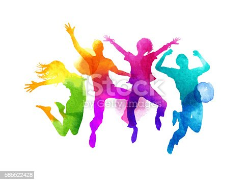A group of friends jumping expressing happiness. Watercolour vector illustration.