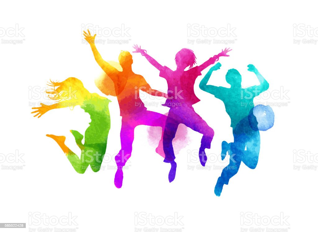 Watercolour Jumping Group of Friends Vector vector art illustration