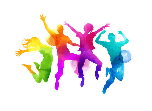 stockillustraties, clipart, cartoons en iconen met watercolour jumping group of friends vector - jong volwassen