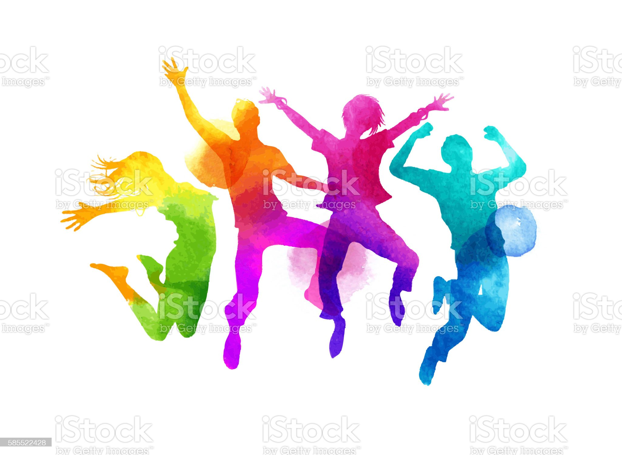Watercolour Jumping Group of Friends Vector royalty-free watercolour jumping group of friends vector stock vector art & more images of people