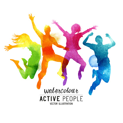 Watercolour Jumping People Vector clipart