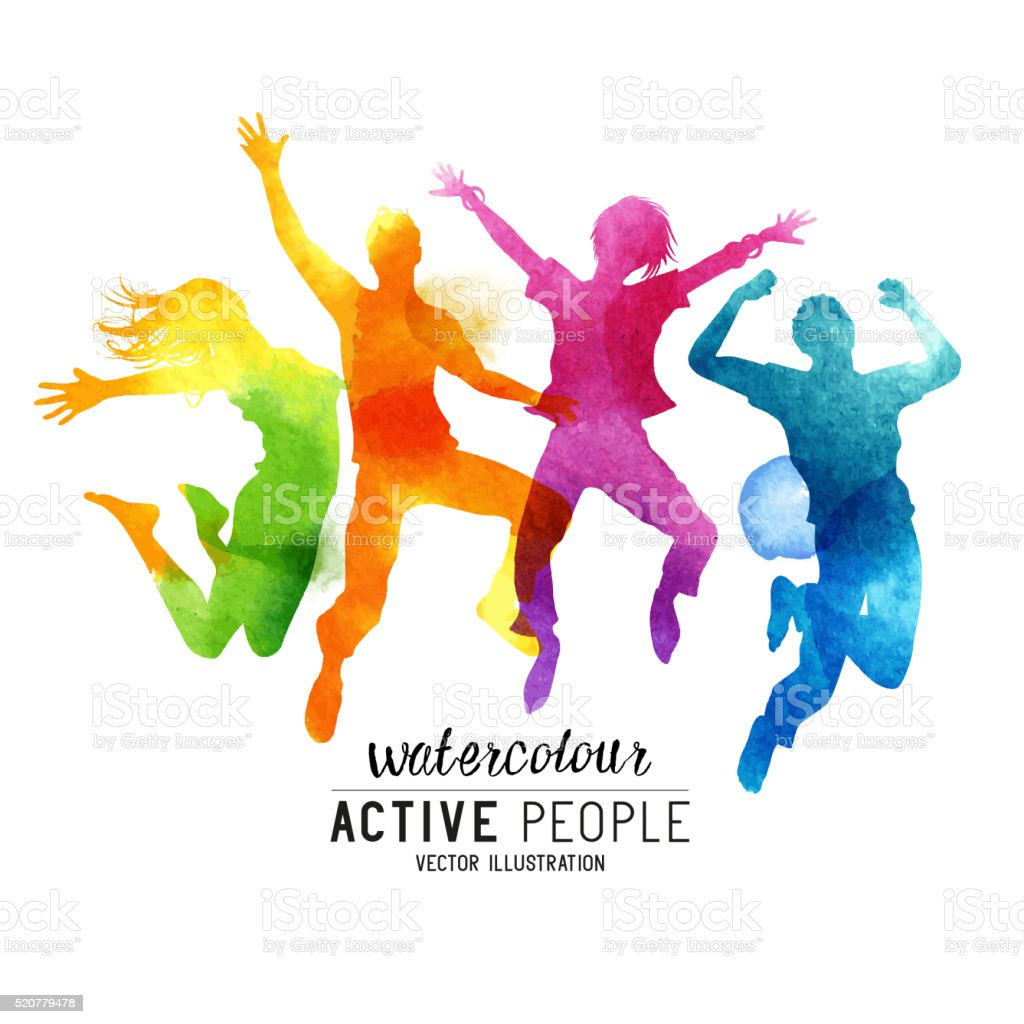 Watercolour Jumping People Vector vector art illustration