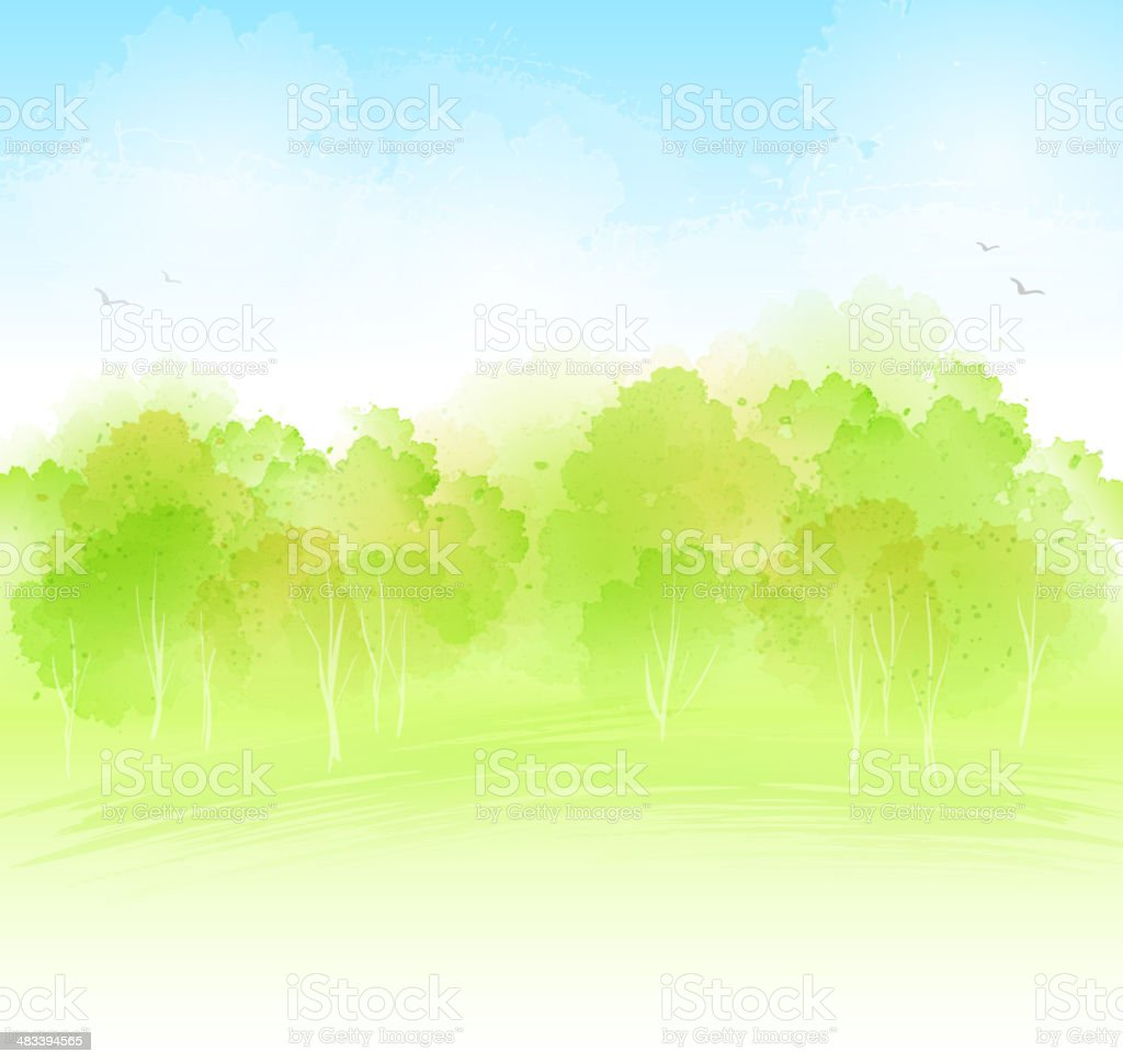 watercolour landckape vector art illustration