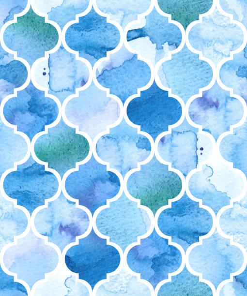 watercolour モロッコの背景。シームレスなベクターパターン - タイルパターン点のイラスト素材/クリップアート素材/マンガ素材/アイコン素材