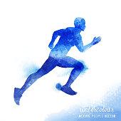 Watercolour Running Man Vector