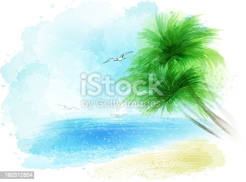 istock watercolour sea landckape 160312854