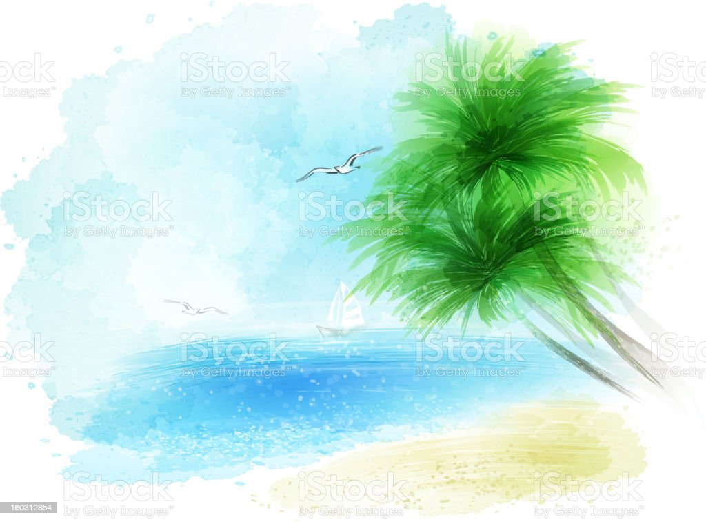 watercolour sea landckape vector art illustration