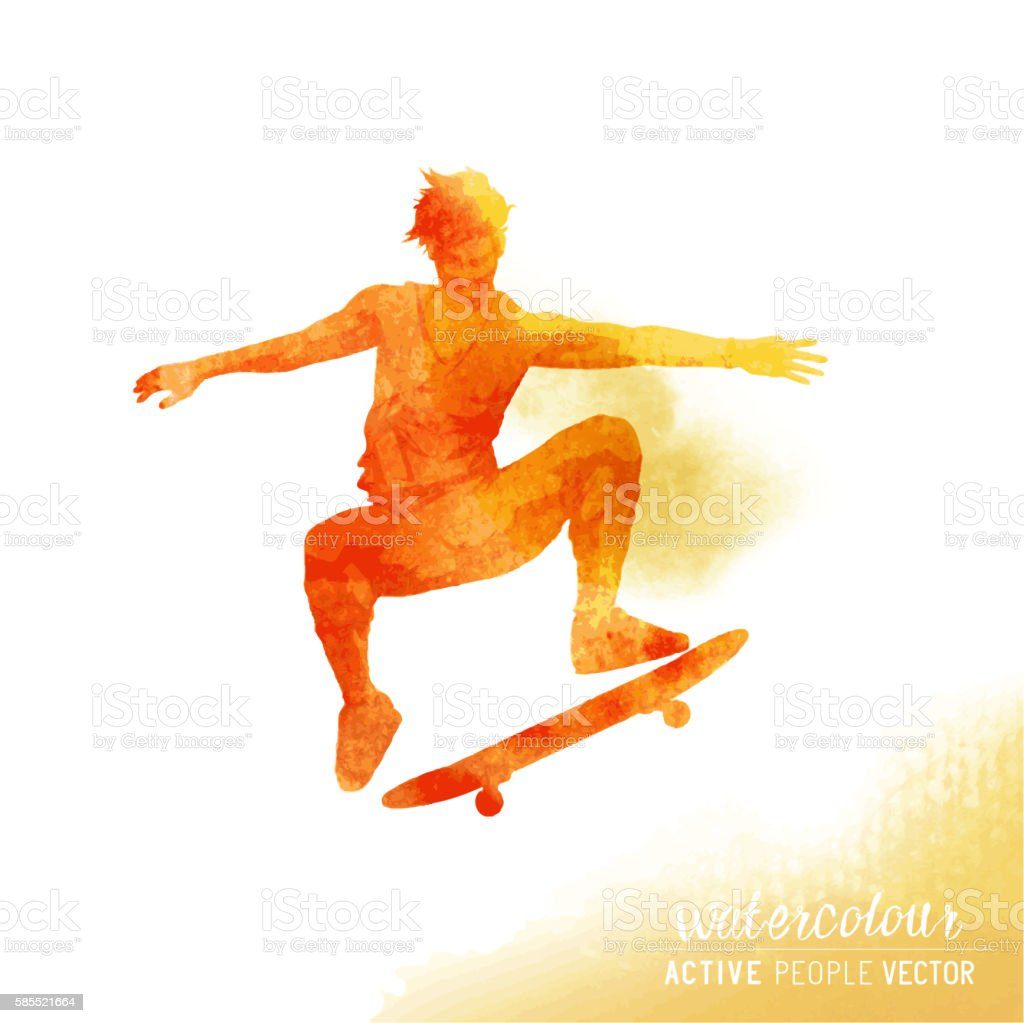 Watercolour Skater Guy Vector vector art illustration