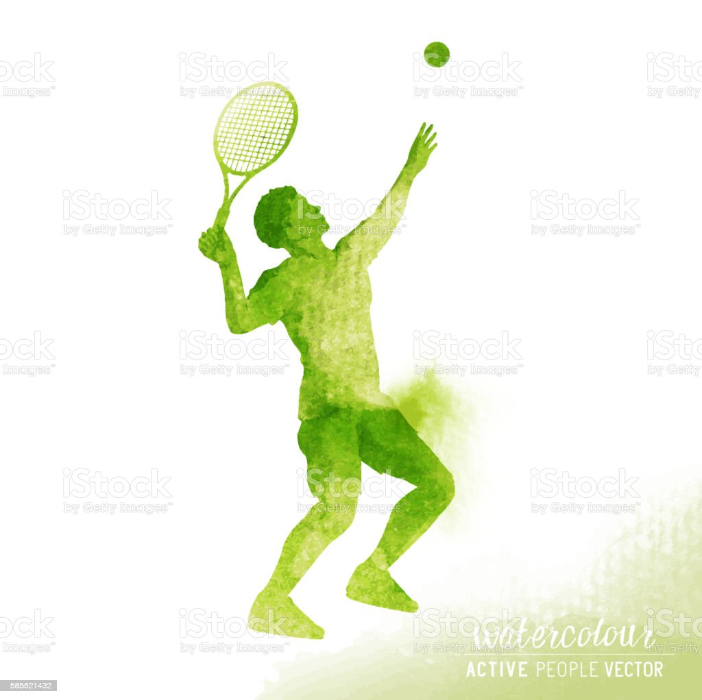 Watercolour Tennis Player Vector vector art illustration