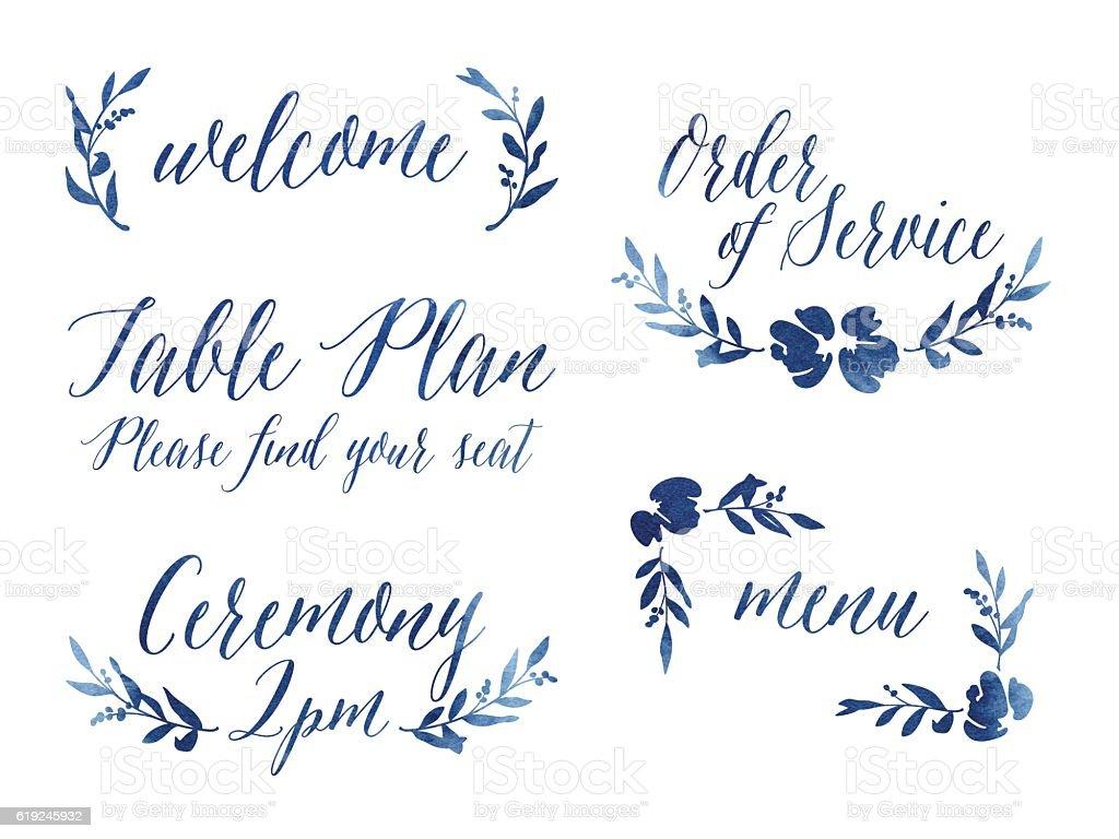 watercolour wedding design elements イラストレーションのベクター