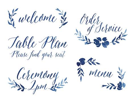 Watercolour Wedding Design Elements