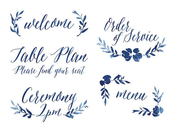 watercolour wedding design elements - hochzeitsblumen stock-grafiken, -clipart, -cartoons und -symbole