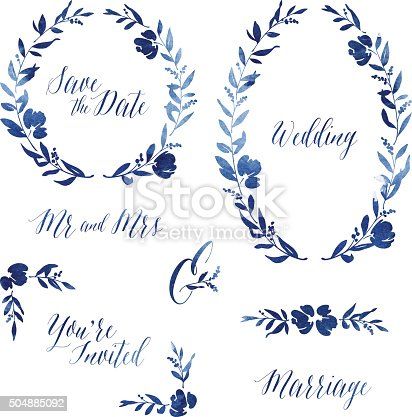 Beautiful watercolour design elements for your wedding invitation, greetings card or design project. Included are two elegant floral wreaths (one circular and one oval), page corners, straight page divider, ampersand, as well as various typographic elements. Also included in the file are solid colour versions of the illustrations. All of these vector illustrations can easily be coloured to suit your needs and scaled to any size without loss of quality.