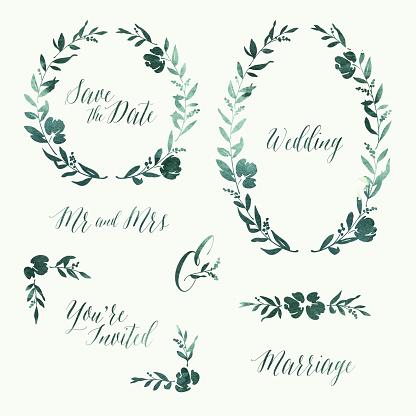 Watercolour Wedding Invitation Design Elements