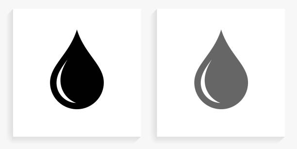 Waterdrop Black and White Square Icon vector art illustration