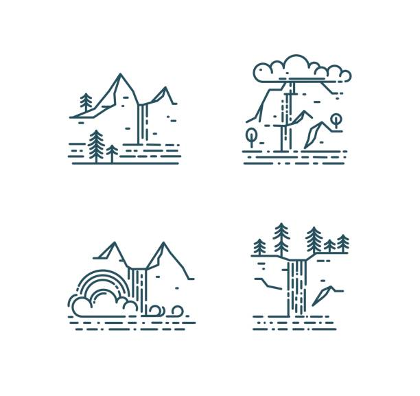 Waterfall and mountain landscape set Waterfall and mountain landscape set isolated on white background. Trendy line style icons, vector illustration lakeshore stock illustrations