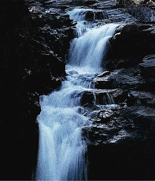 waterfall at dusk - lake superior stock illustrations, clip art, cartoons, & icons