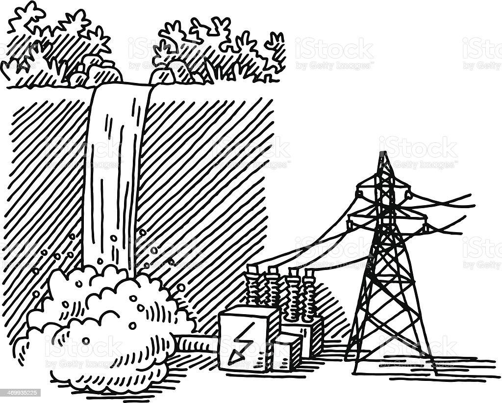 waterfall power generation drawing stock vector art  u0026 more
