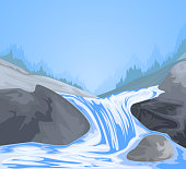 Beautiful short waterfall scene vector nature background.Gradients used,illustration is an eps10 file