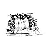 Waterfall vector sketch, cascade waterfall in the rocks hand-drawn vector illustration, landscape with a waterfall, black and white vector sketch isolated on white background for your design
