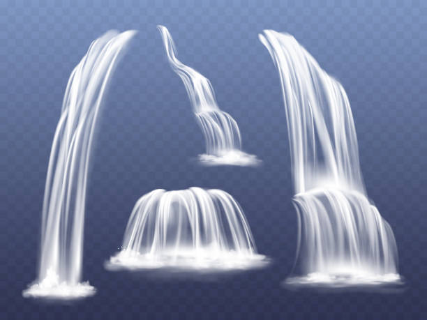 Waterfall water flow cascade vector illustration Waterfall or water cascade vector illustration. Isolated realistic set of flowing streams falling down from mountain rocks with splashes and spatters on transparent background flowing water stock illustrations