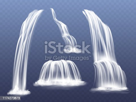 Waterfall or water cascade vector illustration. Isolated realistic set of flowing streams falling down from mountain rocks with splashes and spatters on transparent background
