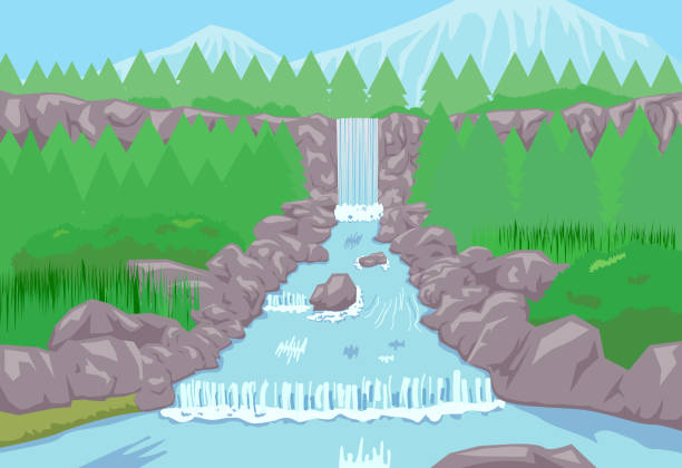 Waterfalls and flowing river vector vector art illustration